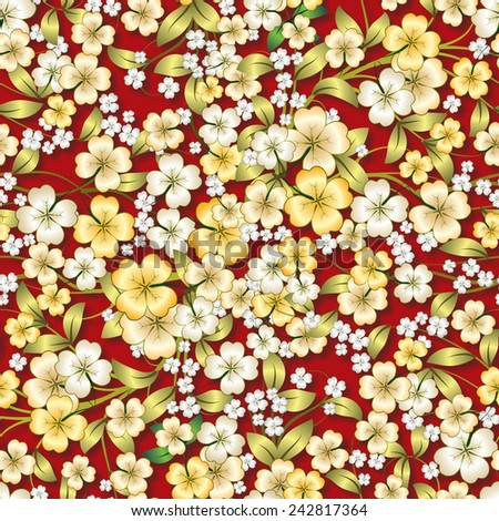 abstract seamless spring floral ornament on red background - stock vector