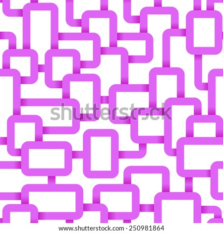 Abstract Seamless Tangled lines pattern. Vector illustration: pink on white - stock vector