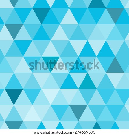 Abstract seamless triangle pattern. Blue mosaic backdrop. Hipster background, place your text on the top of it.