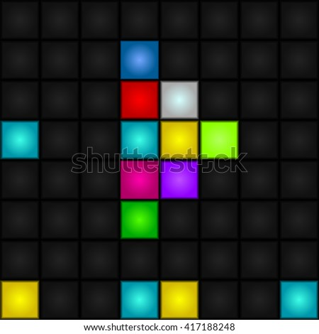 Abstract, seamless, vector background - colorful pixel arrow forward. LED-Display. Futuristic. - stock vector