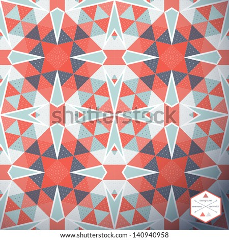 Abstract seamless vector background. Multicolored triangles and grid. Reminds patchwork. - stock vector