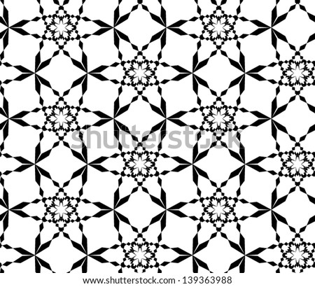 Abstract seamless vector black and white pattern with stylized snowflakes - stock vector