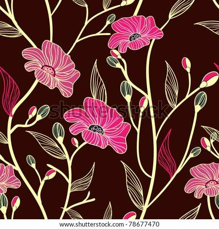 Abstract seamless vector dark pattern with pink flowers - stock vector