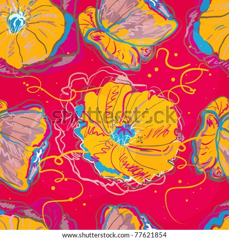 Abstract seamless  vector texture with bright poppies