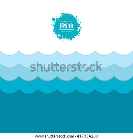 Abstract seamless waves blue pattern - stock vector