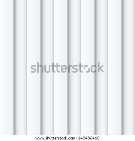 Abstract seamless white ribbed wall vector background. - stock vector