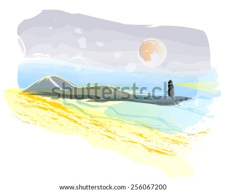Abstract seascape with lighthouse hand painting imitation - stock vector