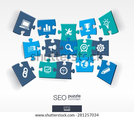 Abstract SEO background with connected color puzzles, integrated flat icons. 3d infographic concept with network, digital, analytics, data and market pieces in perspective. Vector illustration - stock vector