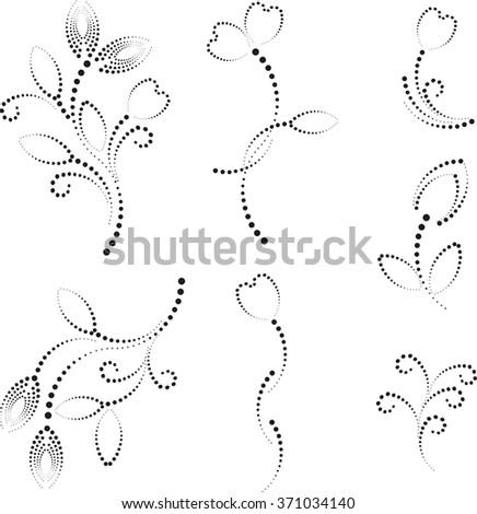 Abstract set  floral background - stock vector