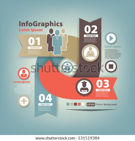 Abstract set infographic on teamwork in business - stock vector