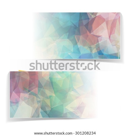 Abstract set of colorful banners with Modern Triangular Polygonal pattern - stock vector