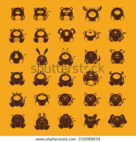 abstract set of cute animals on a yellow background