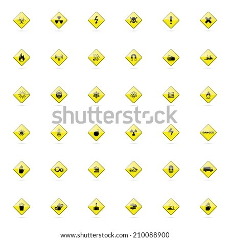 abstract set of danger signals on a white background
