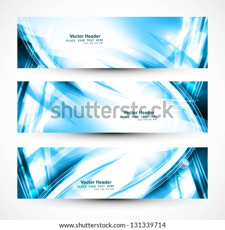 Abstract set of  header blue wave whit vector - stock vector