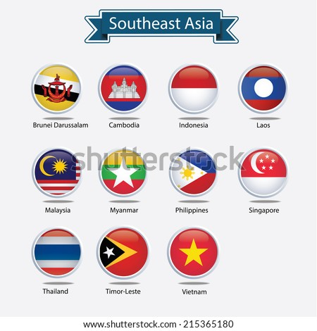 abstract set of nation flags for Southeast asia countries,