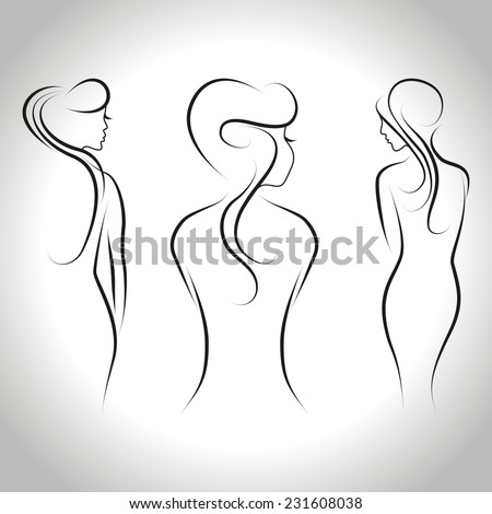 Abstract set of three beautiful women standing back. Vector outline illustration - stock vector