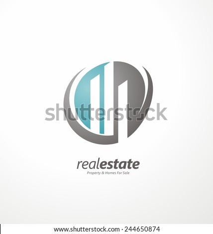Abstract shape with cityscape in negative space. Construction technology abstract vector logo design template. Creative and unique symbol element design for Real Estate company. - stock vector