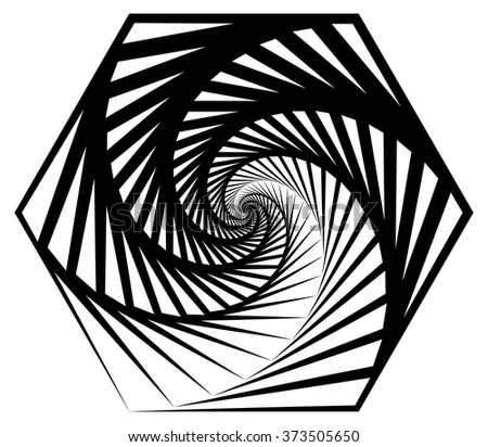 Abstract shape with vortex, rotation effect inwards - stock vector