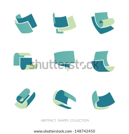 Abstract Shapes Collection. Set of 3-color vector icons. - stock vector