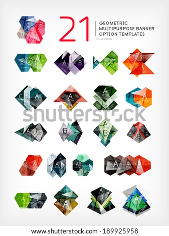 Abstract shapes - stylized geometric shaped option banners. For business / technology design templates, presentations, web design and infographic - stock vector