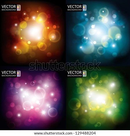 Abstract Shine Light Flare Flying Rays Background CMYK Color Collection Set. - stock vector