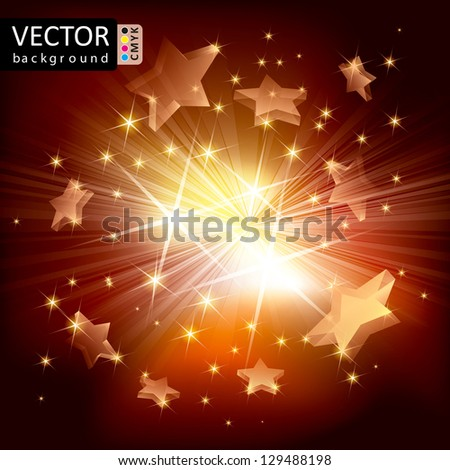 Abstract Shine Light Stars Flying Rays Background CMYK Color. - stock vector
