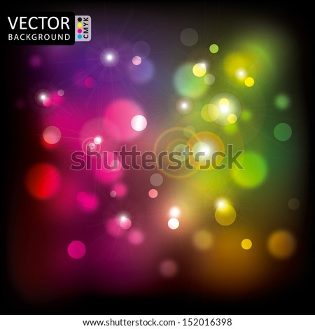 Abstract Shine Multicolor Light Lens Flare Background CMYK Color. - stock vector