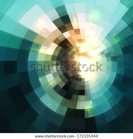 Abstract shining circle tunnel lined background - stock vector