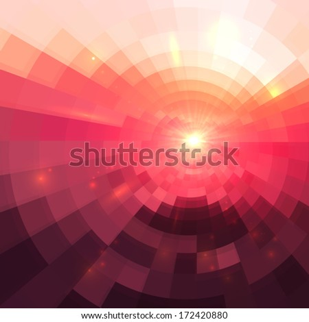 Abstract shining concentric mosaic vector background - stock vector