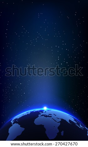 Abstract Shining Sun Over the Planet Earth in the Universe Background. Vector Illustration   - stock vector