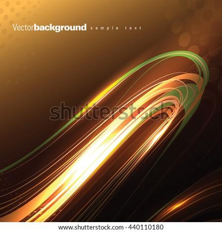 Abstract Shiny Background. Orange Wavy Illustration. - stock vector