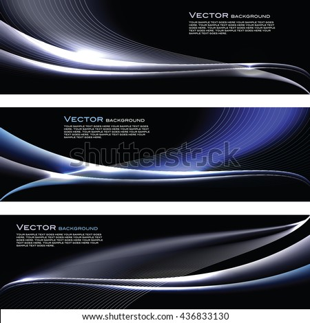 Abstract Shiny Banners. Silver and Blue Sparkly Backgrounds.