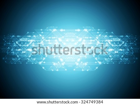 Abstract shiny bright blue tech card illustration. Vector background - stock vector