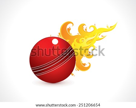 abstract shiny cricket ball with fire vector illustration - stock vector