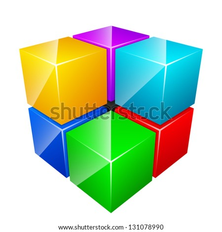 Abstract shiny cubes isolated on white - stock vector