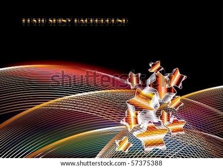 Abstract shiny golden background with stars, eps10 vector illustration