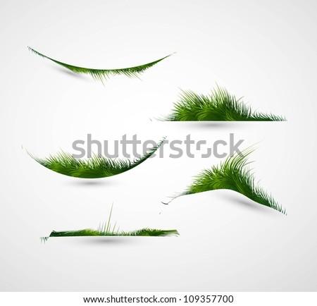 abstract shiny green grass collection vector frame illustration - stock vector