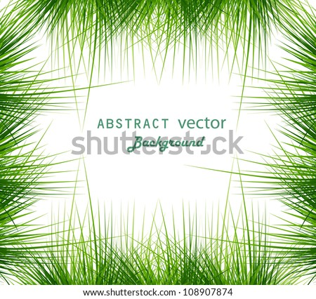 abstract shiny green grass vector frame whit background illustration - stock vector
