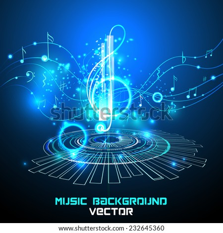 Abstract shiny musical note on blue background. futuristic vector - stock vector