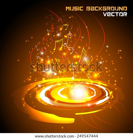 Abstract shiny musical notes on techno background. futuristic vector - stock vector