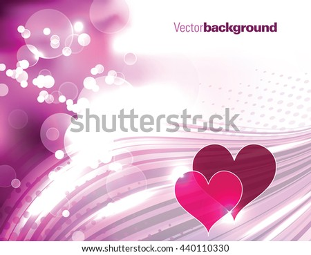 Abstract Shiny Pink Background with Hearts. - stock vector