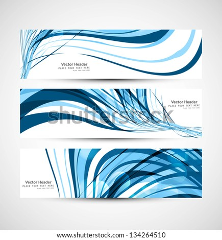 Abstract shiny three header blue colorful wave whit design vector - stock vector