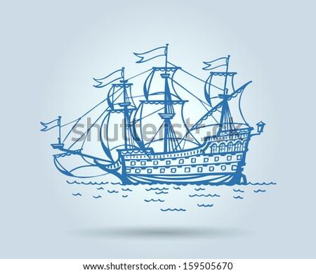 Abstract ship, stylization, vector - stock vector