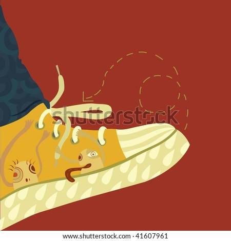 abstract shoe with some little monsters - stock vector