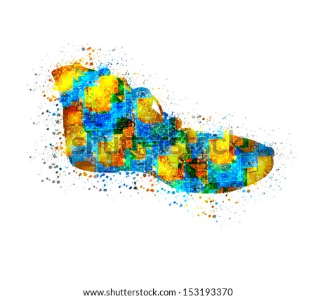 Abstract shoes, easy editable - stock vector
