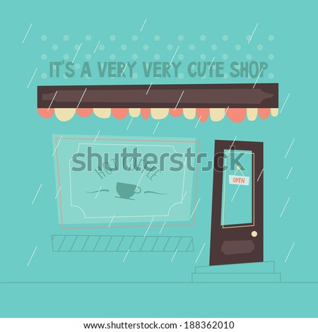 Abstract shop facade. Hot coffee print on window. Cartoon geometry. Minimal exterior, with rain. Flat design. Simple outdoors design. Easy to edit. Vector illustration - EPS10. - stock vector