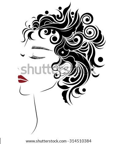 abstract short hair style icon, logo women face on white background. - stock vector