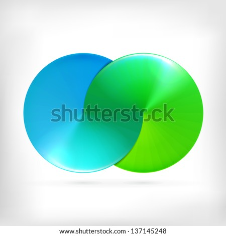 Abstract sign of two merged circle logos. Infinity sign. Spectrum icon. - stock vector