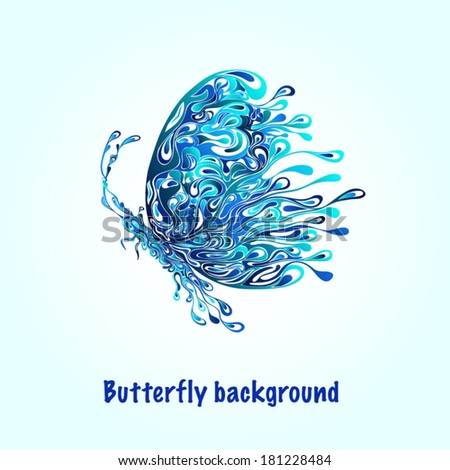 Abstract silhouette of a butterfly from patterns - stock vector