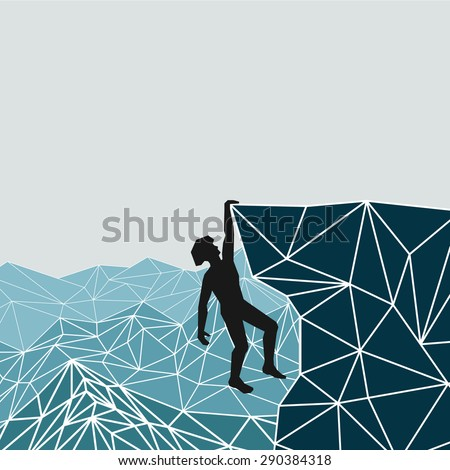 abstract silhouette of a climber in a helmet hanging from the mountains. vector - stock vector